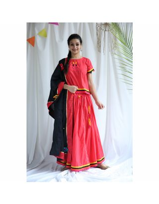 Red Black Cotton Lehenga Set