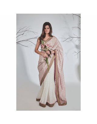 Lavender and White Chanderi Silver Work Saree