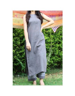 Grey Lace Kurta Set