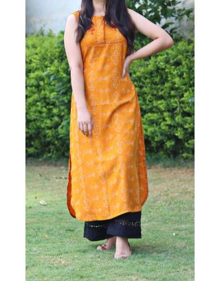 Mustard & Black Kurta Set