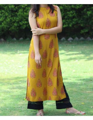 Yellow & Black Kurta Set