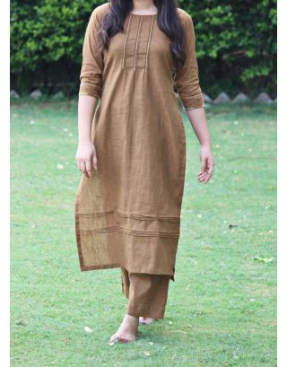 Brown Slub Kurta Set