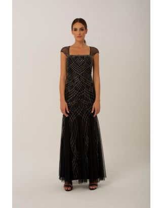 Black Cape Sleeves Maxi Gown