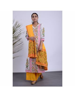 Yellow and White Floral Printed Kurta Palazzo Set with Dupatta