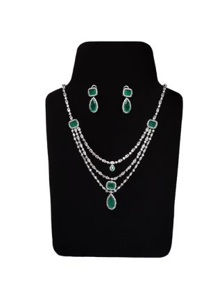 3 Layered Green Solitaire Necklace Set