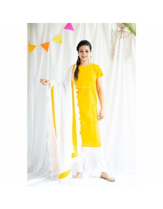 Yellow Kurta With White Frilled Dupatta