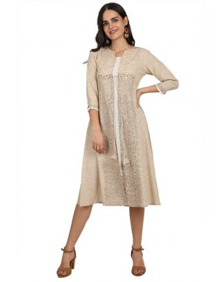 Beige Printed Embroidered Khadi Dress