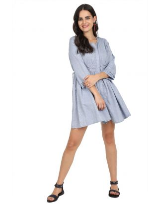 Blue Woven Pleat Tunic