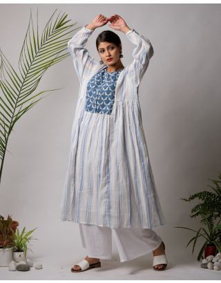 White and Blue Parrot Kurta