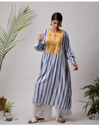 White and Blue Striped Mustard Yoke Kurta