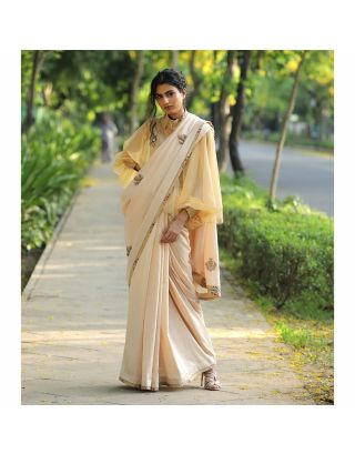 Off White Hand Embroidered Saree