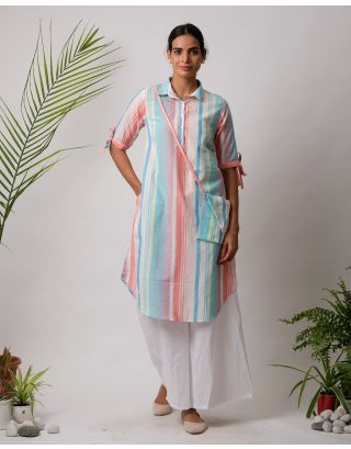 Blue and Pink Collar  Striped Kurta