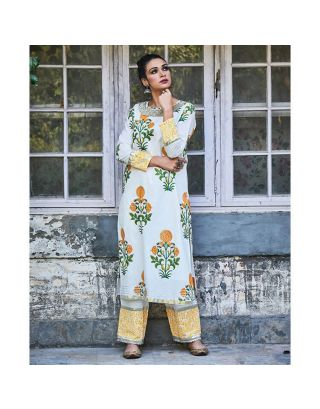 White and Yellow Floral Kurta and Pants