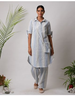 Sky Blue Collar Striped Kurta