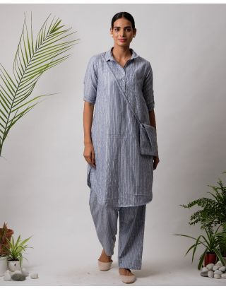 Grey Collar Striped Kurta