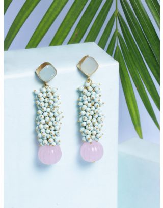 Mint Green and Pink Stone Earrings