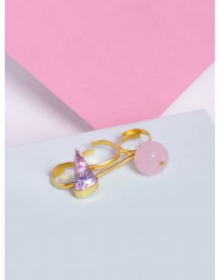 Pink Stone Two Finger Ring