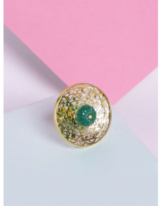 Emerald Gold Jali Ring