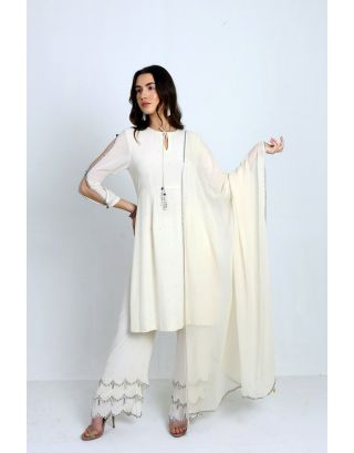 Ivory Suit with Embellished Pants and Dupatta