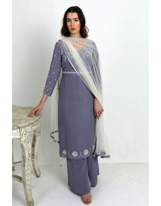 Grey Suit with Palazzo and Dupatta and Belt
