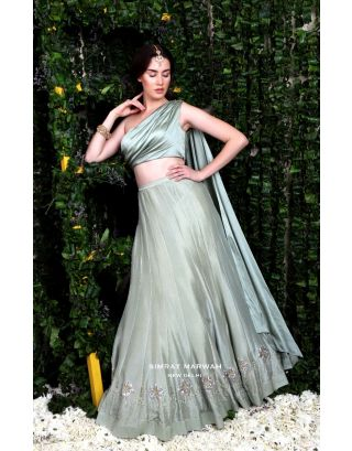 Green Drapped Blouse with Lehenga