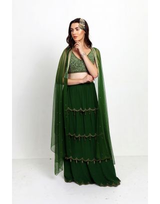 Green Tier Lehenga with Blouse and Cape Style Dupatta