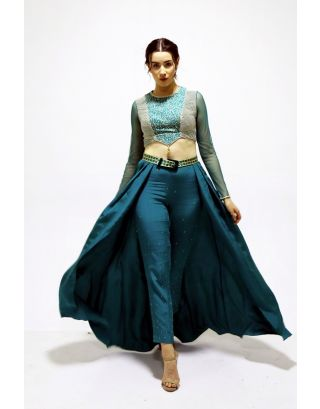 Teal Trouser Lehenga with Blouse
