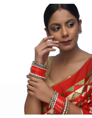 Red Kundan Chuda with Meenakari Bangles