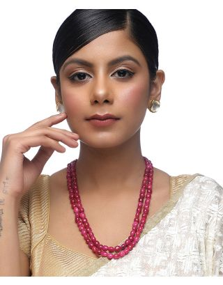Maroon Neckpiece with Studs