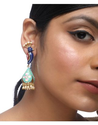 Blue Peacock Earrings