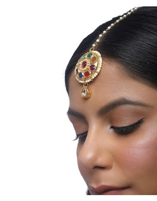 Kundan Navratan Earrings with Tassle and Jhumki