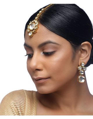 Golden Kundan Tikka and Earrings