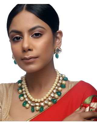 Green Kundan Pearl Necklace Set