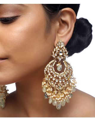 Kundan Flourite Stone Earrings