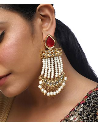 Red Kundan Pearl Chandelier Earrings
