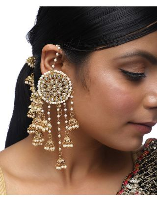 Kundan Pearl Jhumki with Hair Chain