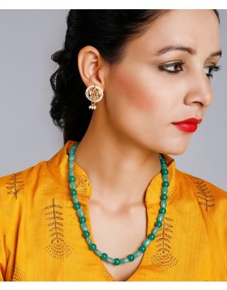 Emerald Necklace With Kundan Studs
