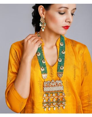Green Long Kundan Neckpiece Set