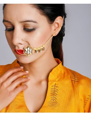 Golden and Ivory Kundan Nose Ring