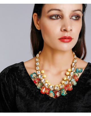 Multi-Colored Hand Painted Kundan Neckalce
