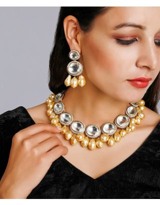 Golden Pearl Kundan Necklace Set