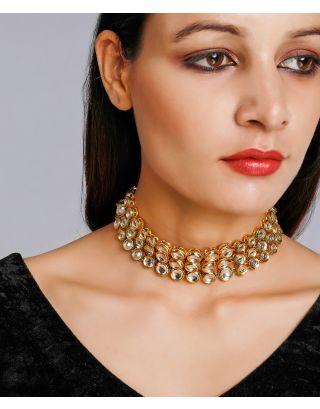 Golden Three Layered Kundan Choker
