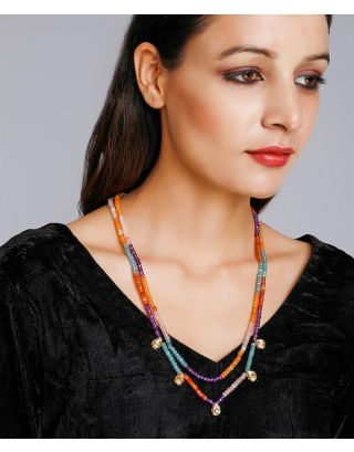 Multi Colored Kundan Beaded Necklace