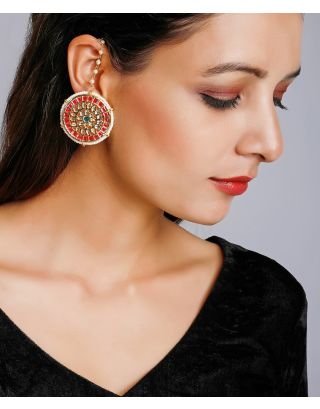 Red Over Sized Kundan Studs