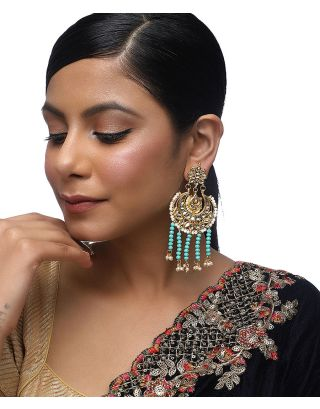 Turquoise Tassle Kundan Earrings