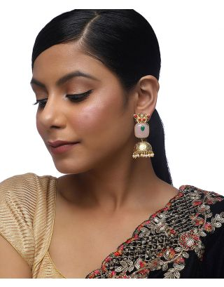 Onyx and Gold Frosting Jhumki Earrings
