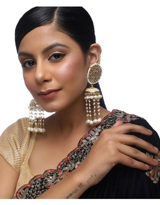 Kundan Pearl Tassle Earrings