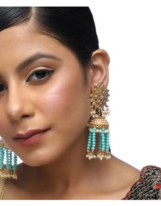 Flower Kundan Turquoise Tassle Earrings