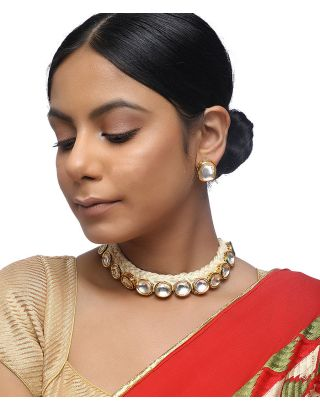Kundan Off White Thread Choker Set
