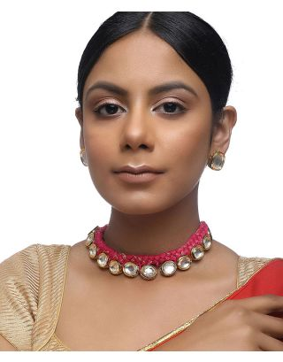 Kundan Pink Thread Choker Set